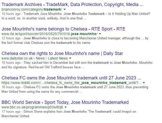 Jose Mourinho Trademark
