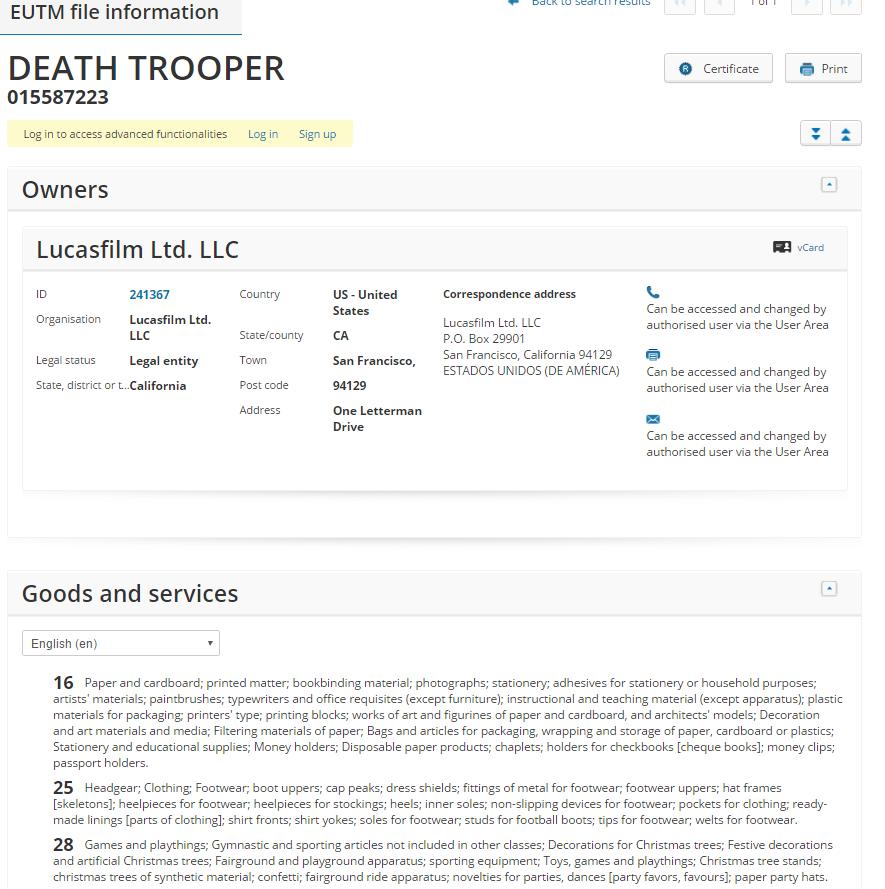 death trooper trademark application