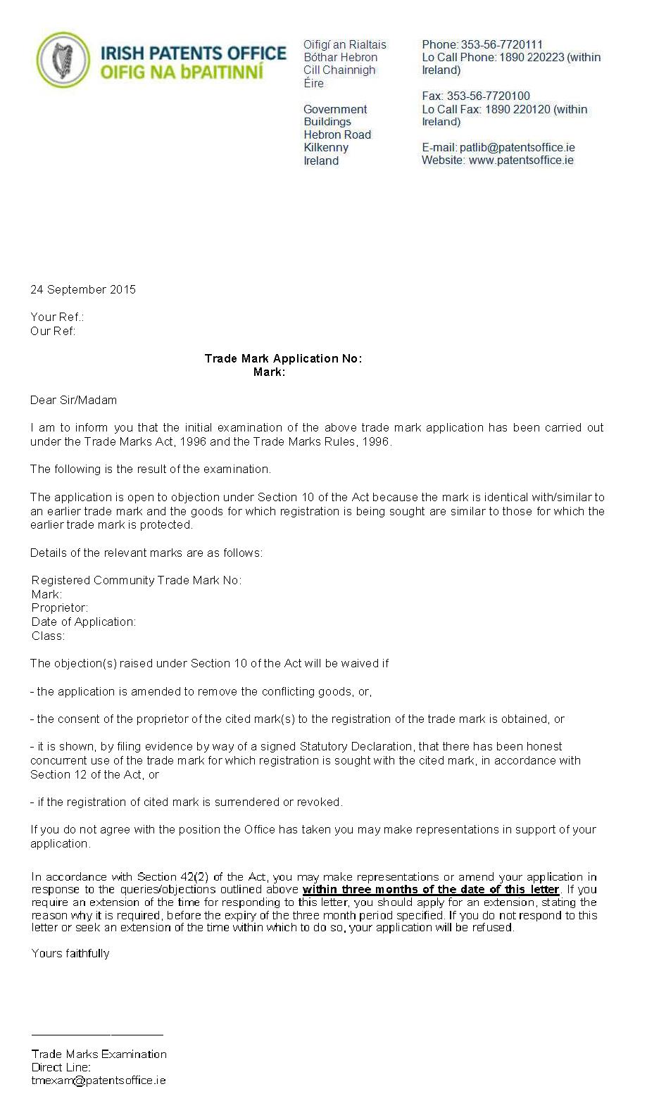 Trademark Objection Letter Irish Patents Office