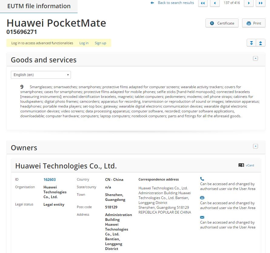 Huawei Pocketmate Details