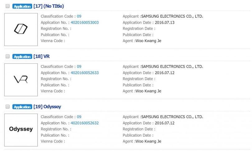 Samsung Odyssey Korean Trademark Applications