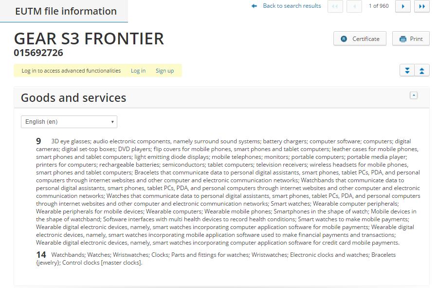 Samsung Gear S3 Frontier Trademark