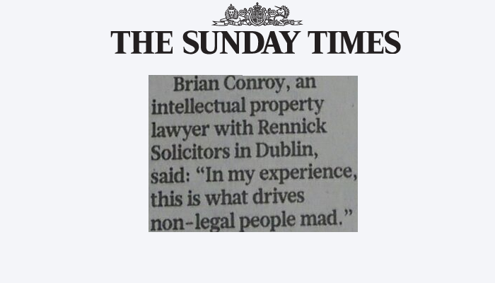 Specsavers Trademark – Brian Conroy Quoted in The Sunday Times