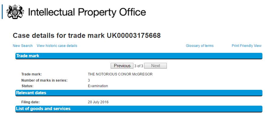 The notorious Conor McGregor Trademark Application