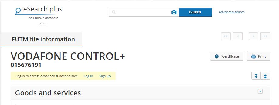vodafone control + TM application