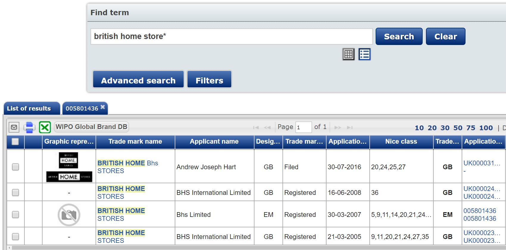 British Home Store Trademark Search Results