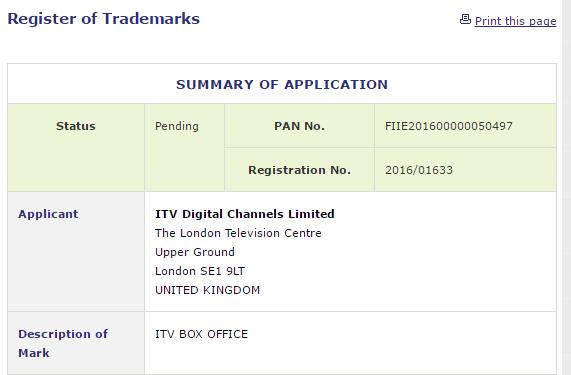 ITV Box Office Trademark Application