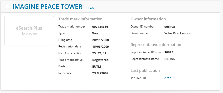Imagine Peace Tower Trademark Application