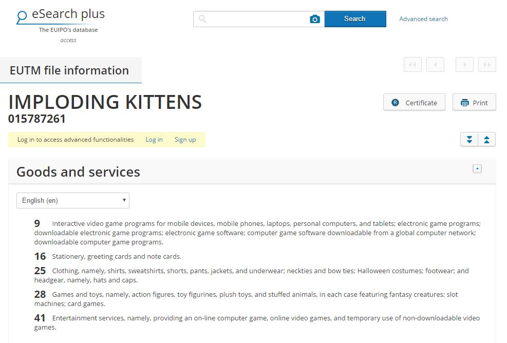 Imploding Kittens Trademark Application