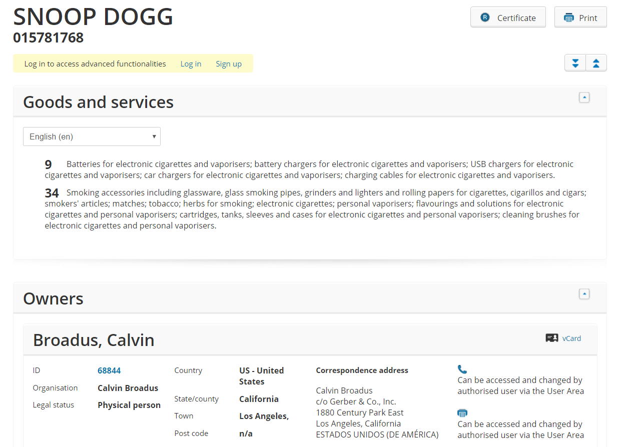 Snoop Doog Trademark Application
