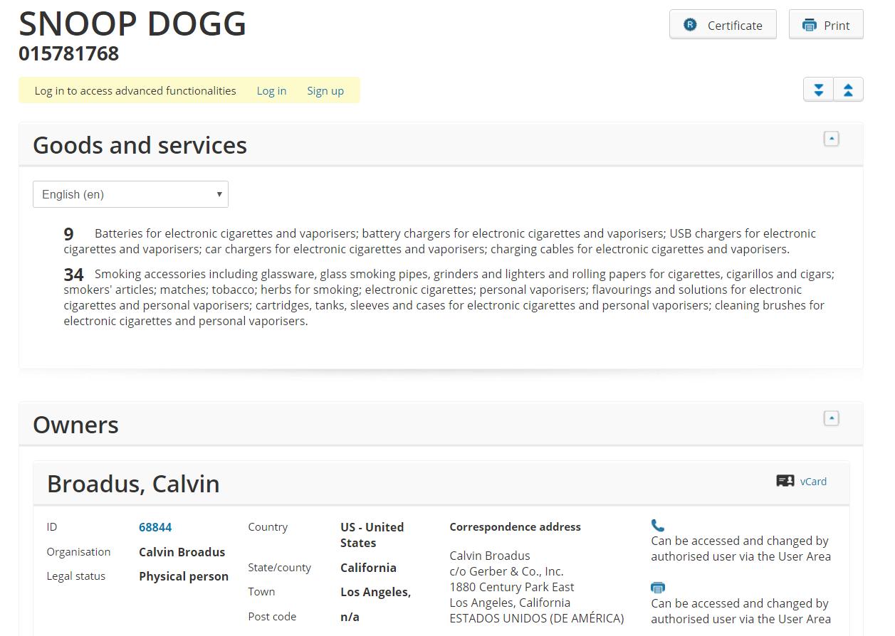 Snoop Doog Trademark Application