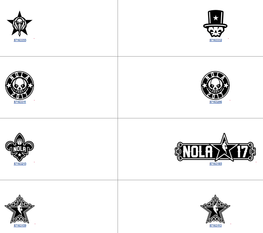 NBA Trademarks – New NOLA New Orleans 2017 Logos filed 7 September 2016