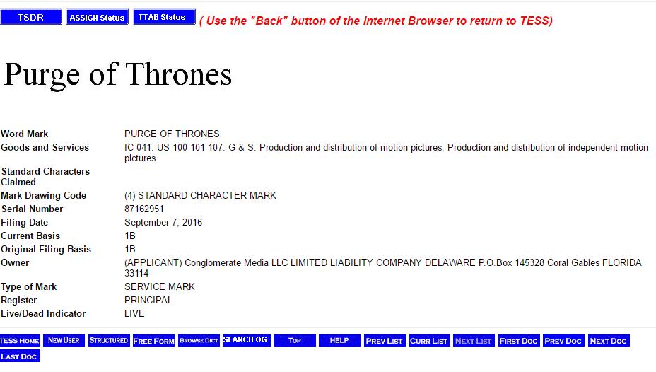 Purge Of Thrones Trademark Application