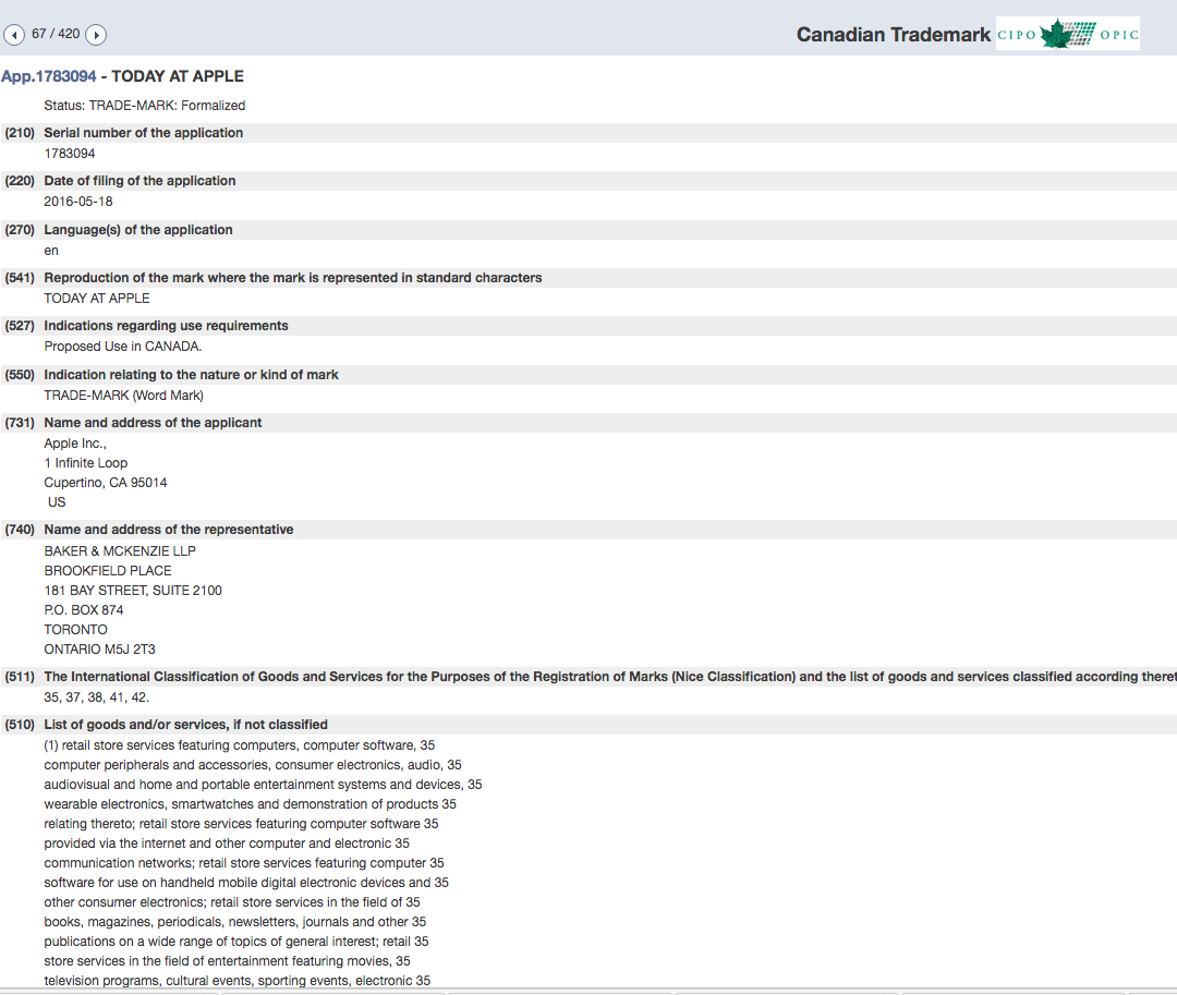 Today At Apple Trademark Application