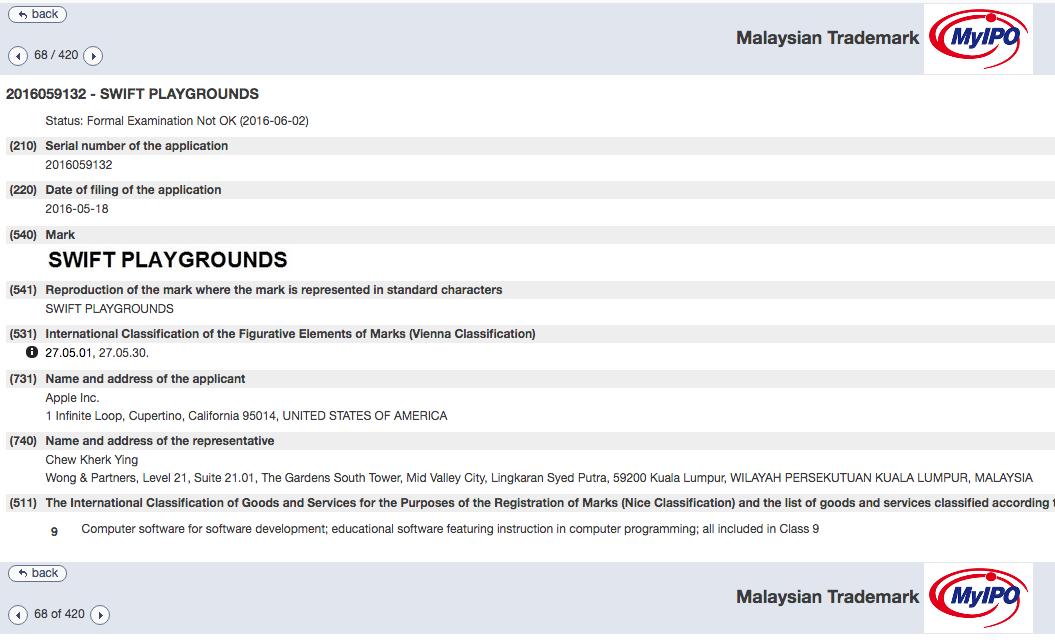 Apple Swift Playgrounds Trademark Application