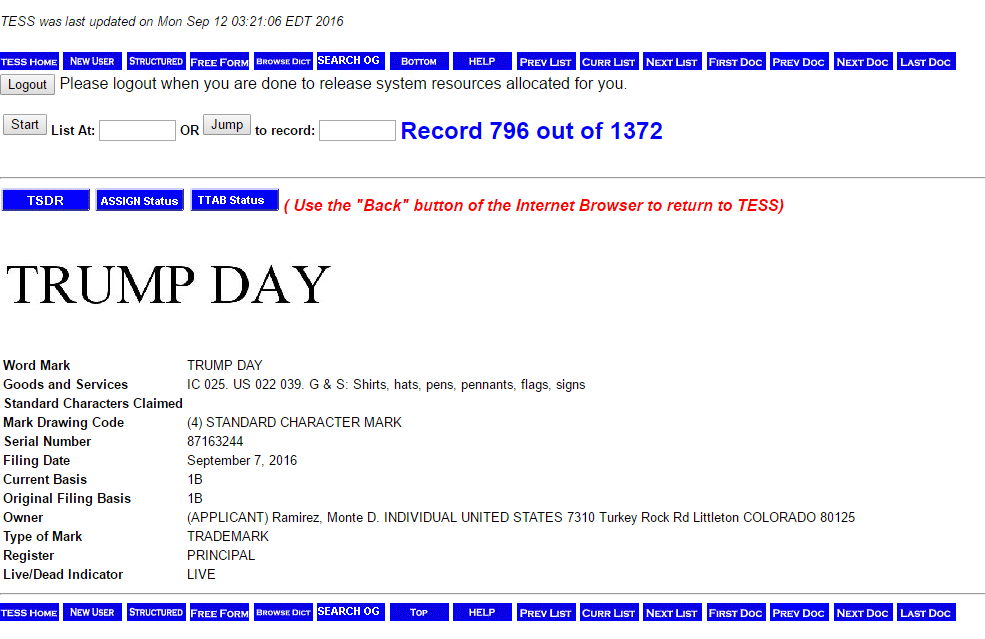 Trump Day Trademark Application