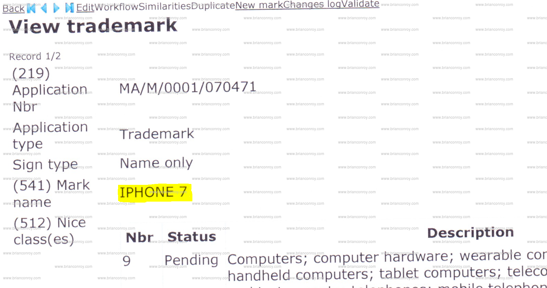apple iphone 7 trademark application