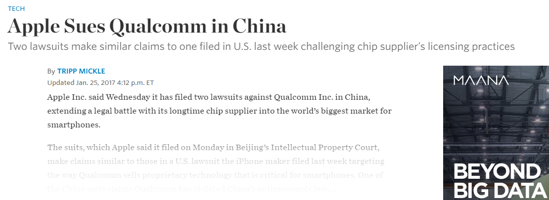 According To The Wall Street Journal, Apple Is Suing Qualcom In China #Apple #China #Qualcom #WSJ