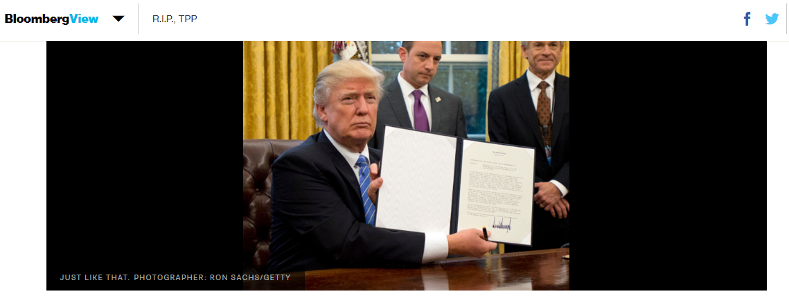 's Withdrawing From The TPP And The Effect This Will Have #Patents #FreeTrade #IntellectualProperty