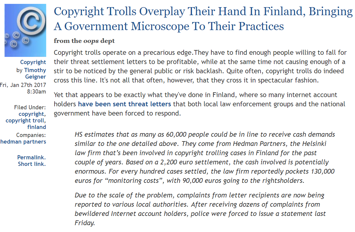 Copyright Trolling Can Be Big Business If You Look At This Situation In Finland #Copyright #Trolls #Finland #IntellectualProperty