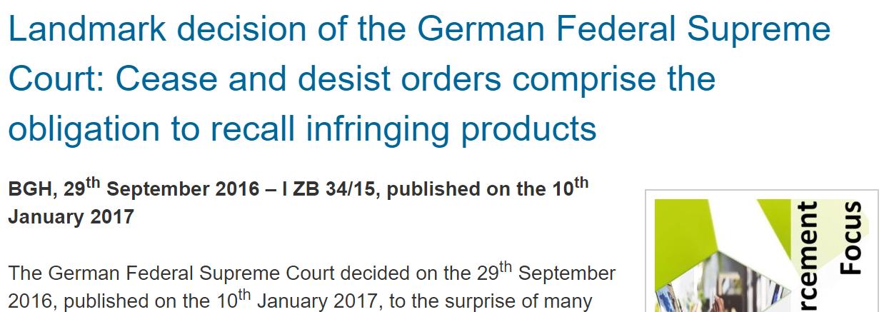 German Supreme Court - Cease And Desist Letters In Trademark Infringement Cases #Trademark #Infringement