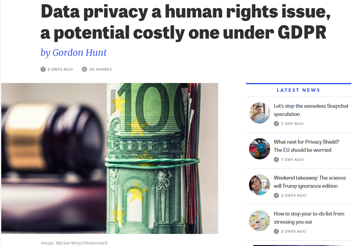 Human Rights Are A Big Deal, So If Data Privacy Is A Human Rights Issue, Things Just Got Real Serious Real Quickly #GDPR #Privacy #DataProtection #PrivacyShield