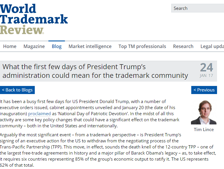 Interesting Article From Tim Lince At World Trademark Review About What Trumps First Few Days Could Mean For The Trademark Community