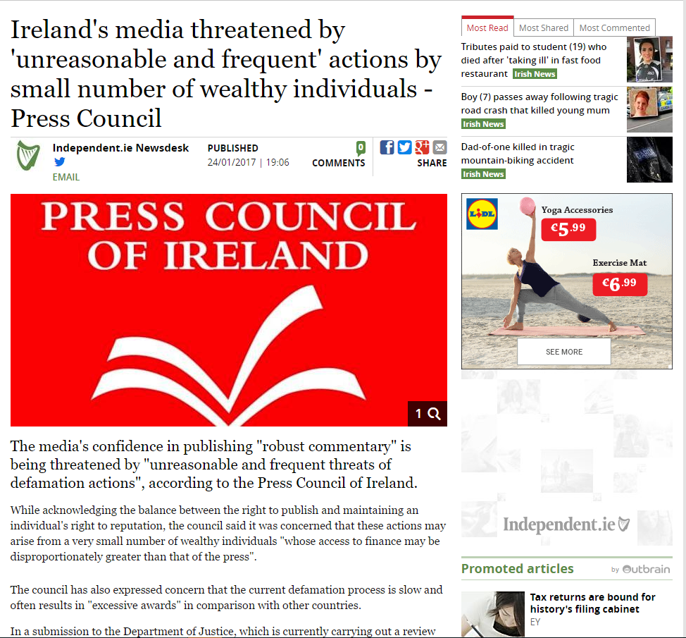 's Media Threatened By Unreasonable And Frequent Actions By Small Number Of Wealthy Individuals - Press Council - Read More At Irish Independent