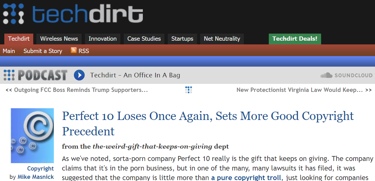 Perfect 10 Losts Copyright Case - Techdirt On Perfect 10 - #Copyright #Trolling #CopyrightLaw