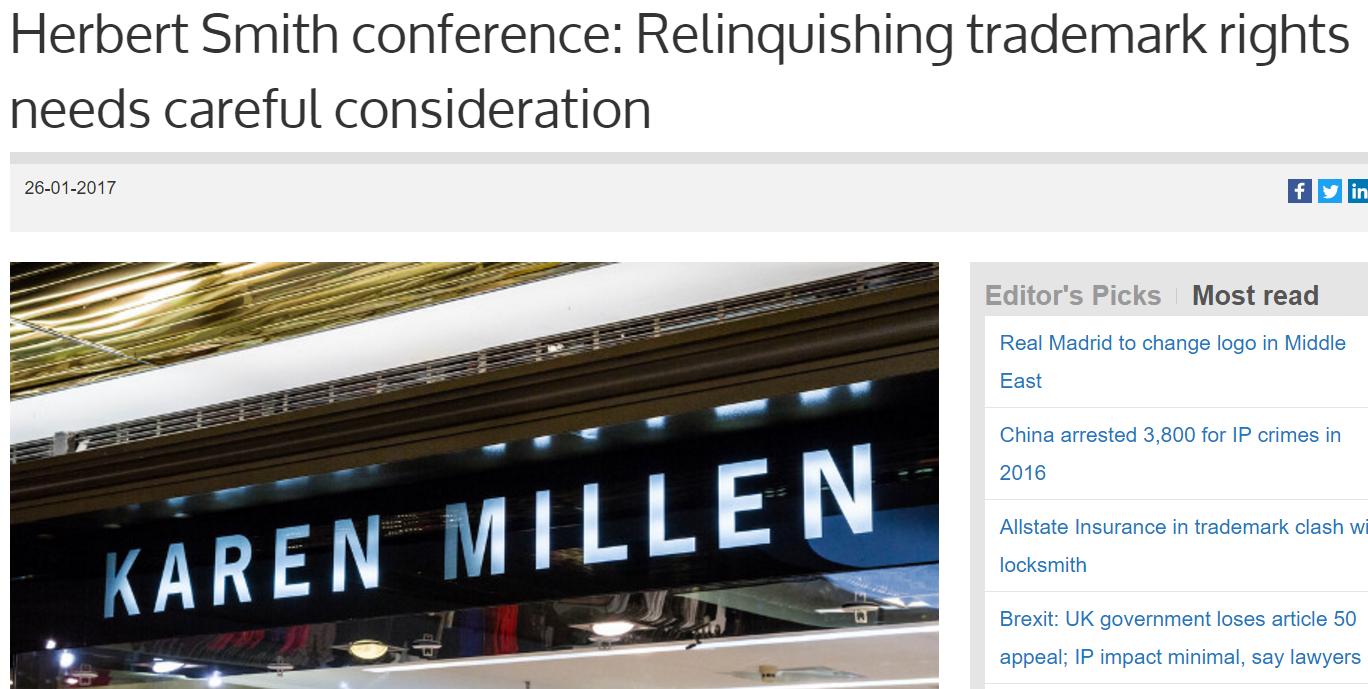 Relinquishing Trademark Rights Needs Careful Consideration - Just Ask Karen Millen #Trademark #KarenMillen