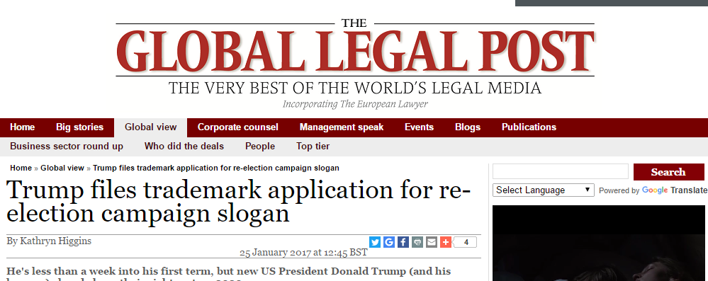 Stories About Donald Trump Applying For Trademark For #KeepAmericaGreat Abound - It Has Already Been Applied For. BY SOMEONE ELSE