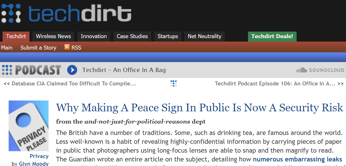 Techdirt On Why Making A Peace Sign Is Now A Security Risk #Peace #PeacSign #Security #Fingerprints