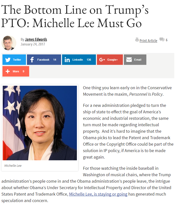 's PTO Michelle Lee Must Go - Read More At IP Watchdog