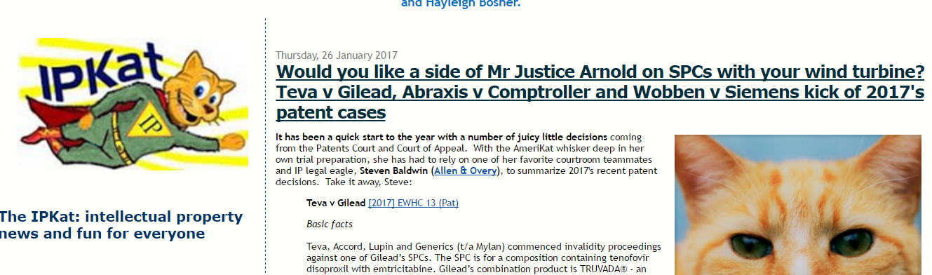 The Usual Great Analysis From The IPKat In Relation To Gilead Case #Gilead #GileadScience #Trademark